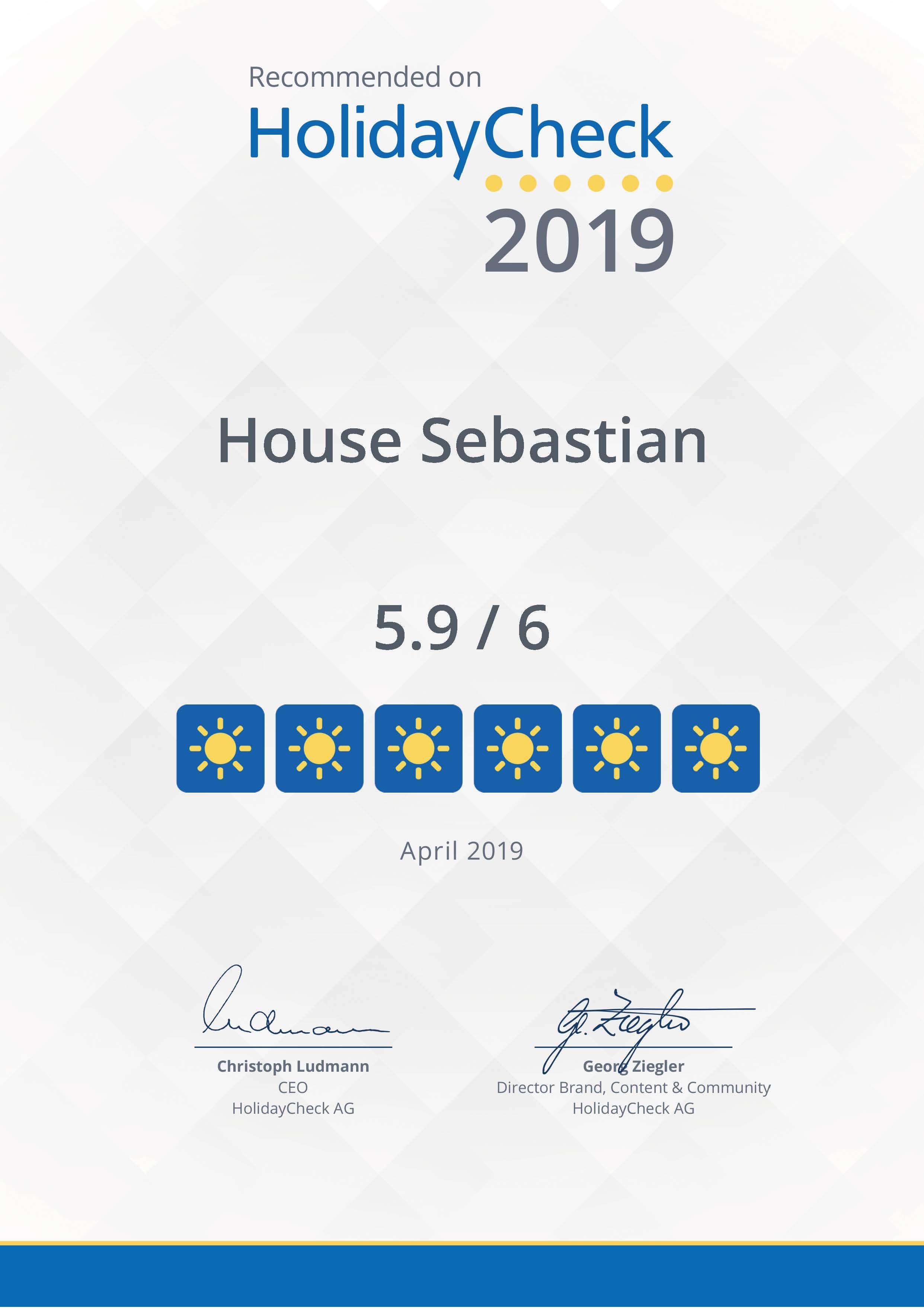 Ferienwohnungen in Grainau Haus Sebastian erhält HolidayCheck Urkunde 2019